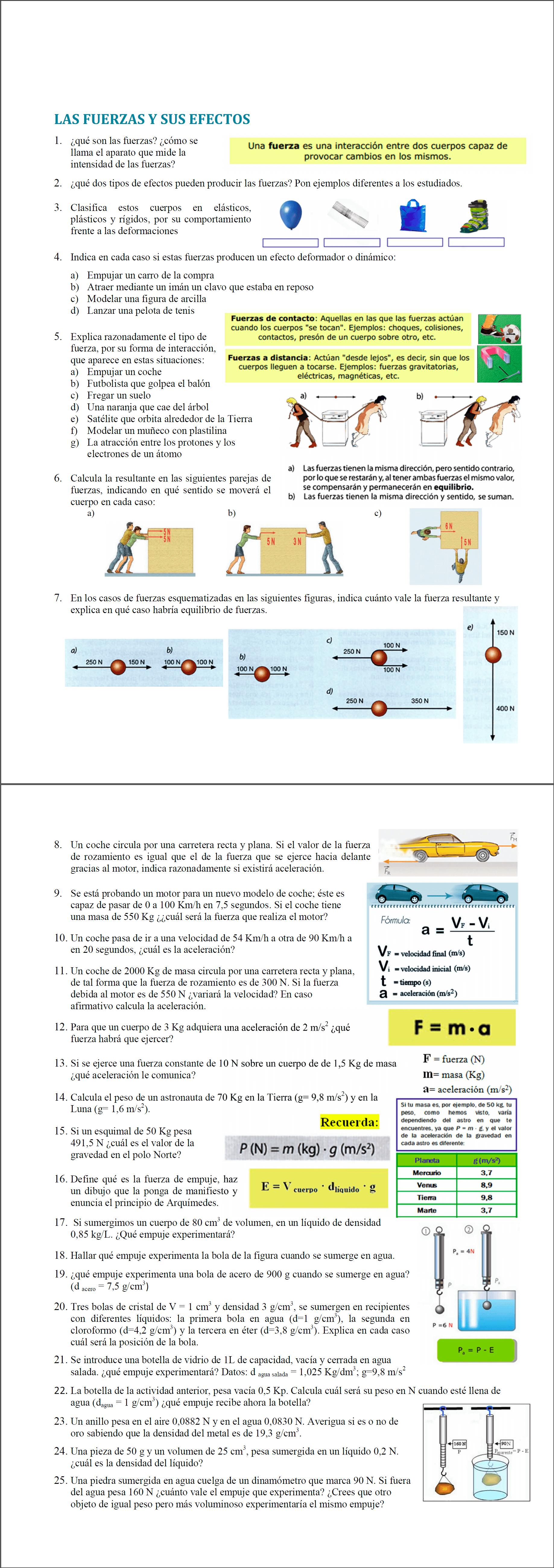 6con02 - Física y Química - B · Ejercicios de Fuerzas y sus Efectos